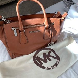 Brown leather Michael Kors tote.